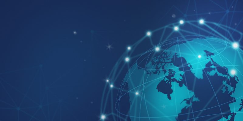 Blue global network connection illustration
