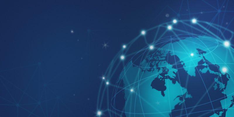 Blue global network connection illustration